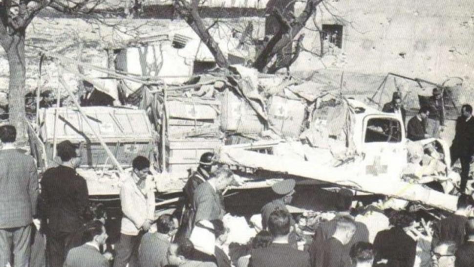 آثار القصف الفرنسي على مدينة ساقية سيدي يوسف