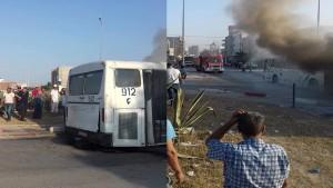 اشتعال النار في حافلة