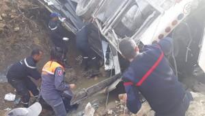 ارتفاع عدد ضحايا حادث انقلاب حافلة سياحية