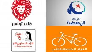حزب قلب تونس حزب النهضة التيار الديمقراطي الدستوري الحر