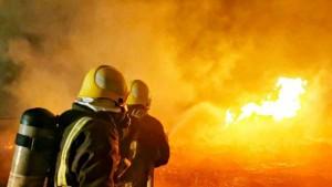 حريق في محطة نفطية