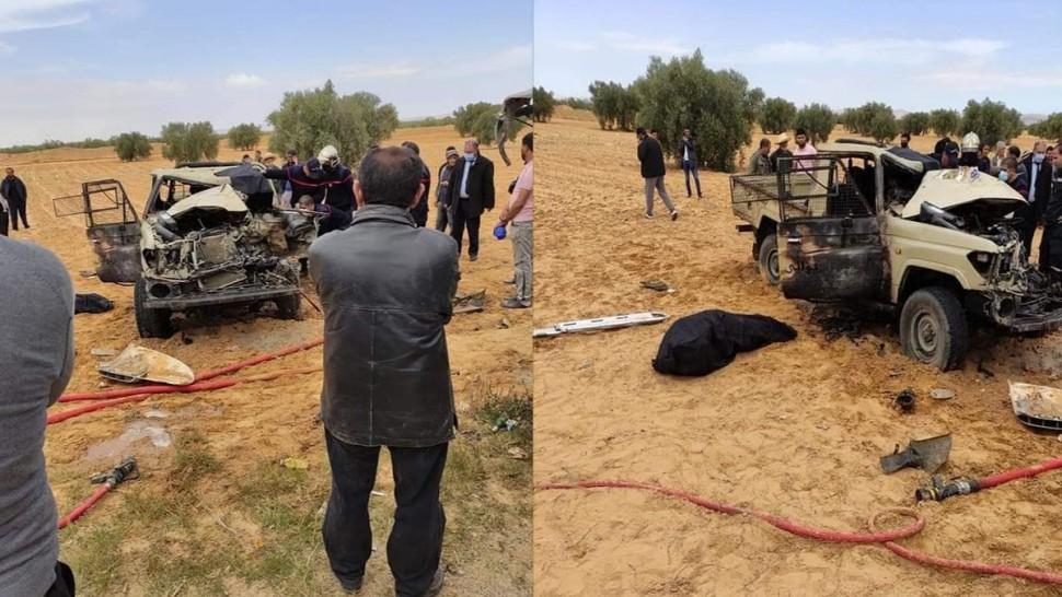 جد حادث مرور على مستوى الطريق الجهوية الرابطة بين معتمدية المكناسي ومدينة سيدي بوزيد وتحديدا على مستوى مفترق قرية المبروكة .