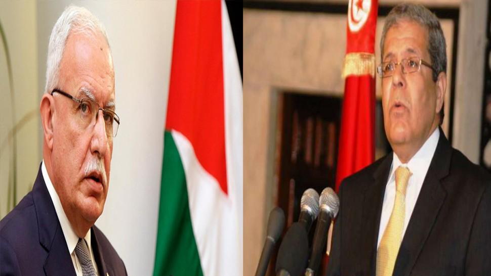 وزير الخارجية يعرب لنظيره الفلسطيني عن تضامن تونس مع الشعب الفلسطيني