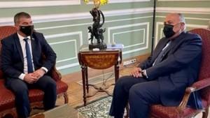 القاهرة : وزير خارجية الكيان الصهيوني يلتقي وزير الخارجية المصري