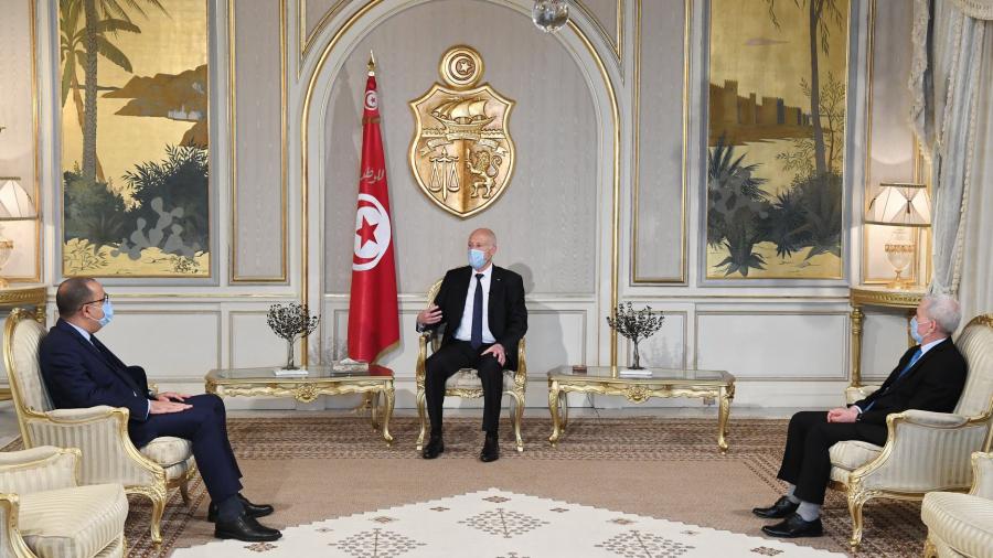 صورة لآخر لقاء بين سعيد و المشيشي بحضور وزير العدل